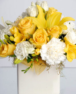 yellow white flower arrangement