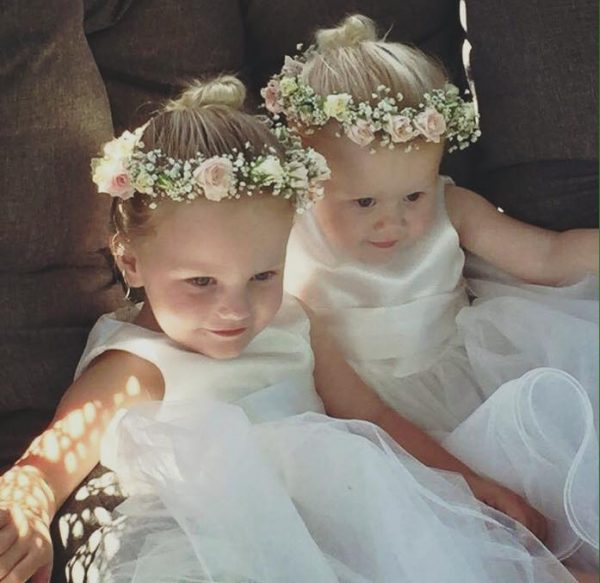 Flower girls wearing Flower Crowns at a Wedding